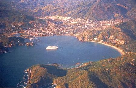 Aerial view of Zihuatanejo, Guerrero, Mexico