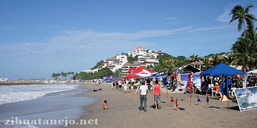 Beach scene at Karma Surfer National Competition at Las Escolleras, Ixtapa