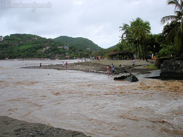 Zihuatanejo canal and beach after Tropical Storm Odile
