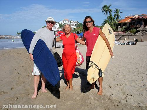 Summer, Lupita and Miguel at the Karma Surfer National Competition at Las Escolleras, Ixtapa